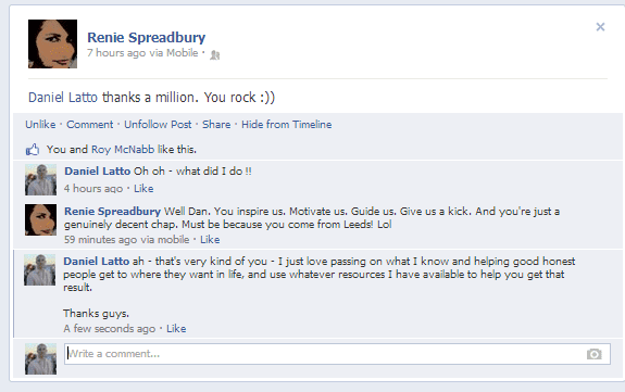 nice comments on facebook - renie spreadbury